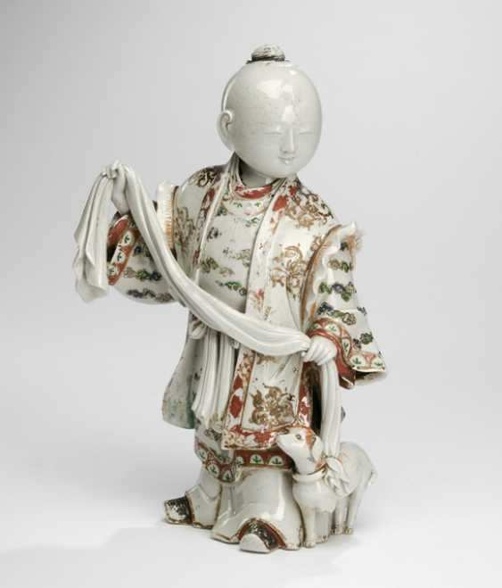 Porcelain figure of a boy with dog-European painting - photo 1