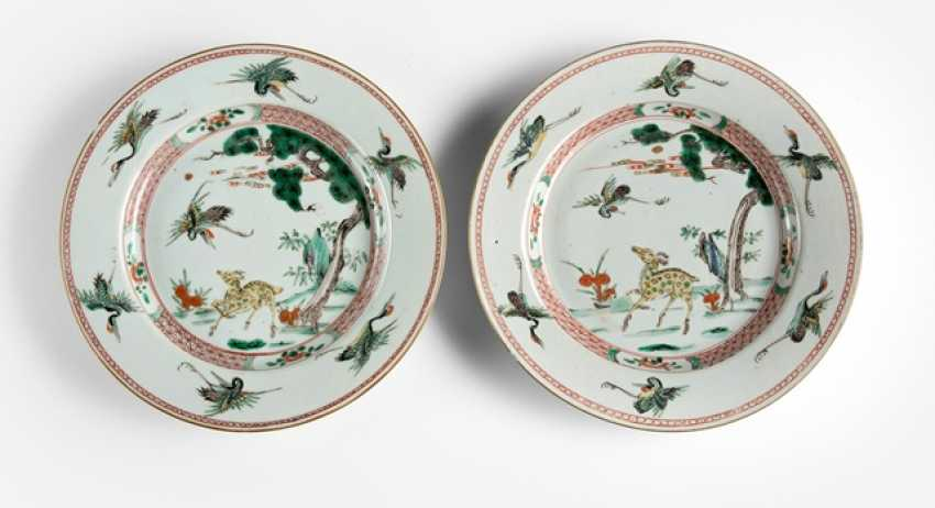Pair of plates with 'Famille verte'decoration of crane and deer - photo 1