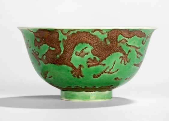 Green glazed dish with dragon decoration in Aubergine - photo 1