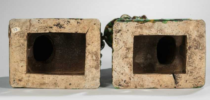 Pair of 'Sancai'-glazed incense holders in the Form of a Buddhist guardian lions - photo 3