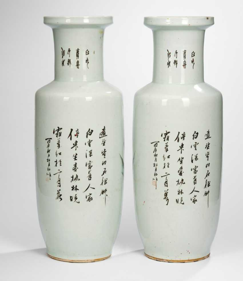 Pair of large vases with landscape decor - photo 2