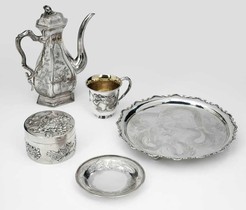 Jug, tray, lid, and Cup with saucer silver - photo 1