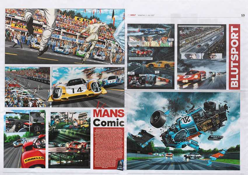 """Double newspaper page with a """"Le Mans Comic"""" out of """"PS world"""" in 2017 - photo 1"""