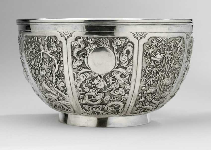 Eight passige silver bowl with insert - photo 1