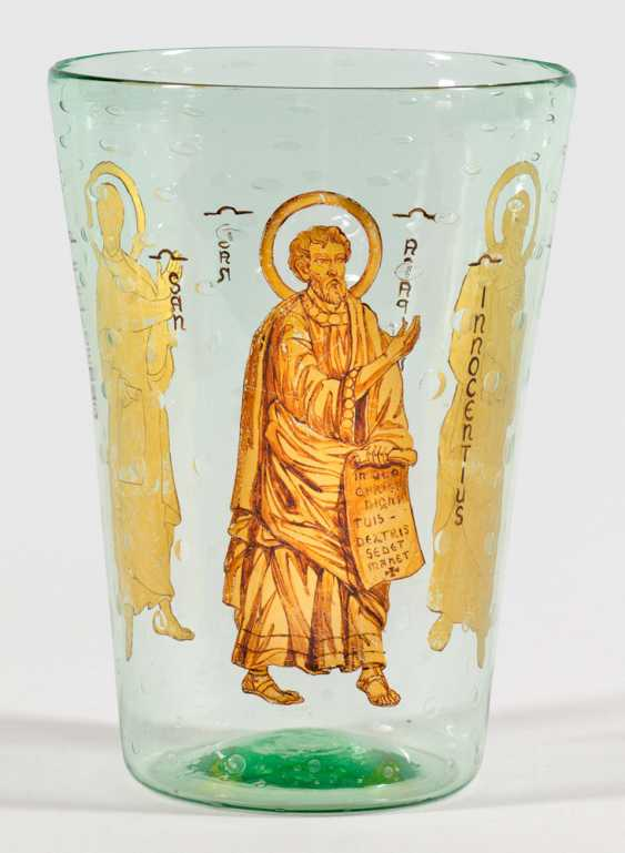Beaker vase with air bubbles decor and sacred representations - photo 1