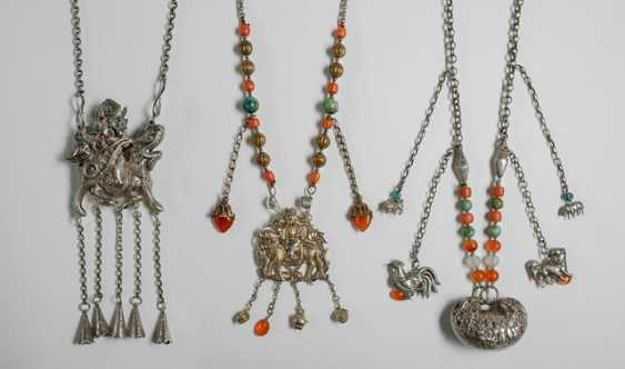 Three silver chains with figurative and zoomorphic jewelry - photo 1