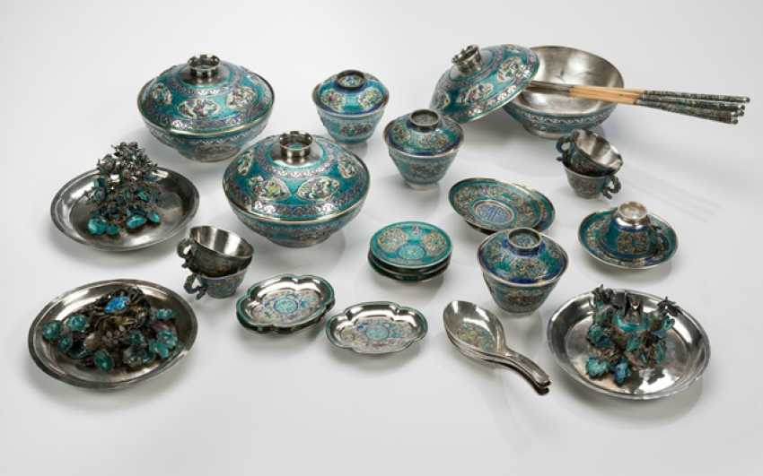 37-piece set made of silver with enamel decor - photo 1