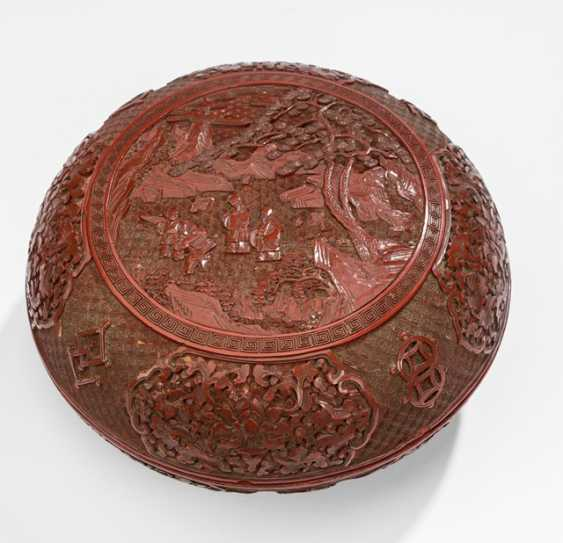 Lacquer red box with decoration of scholars and students - photo 1