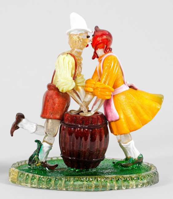 Glass sculpture of a dancing Tyrolean peasant couple - photo 1