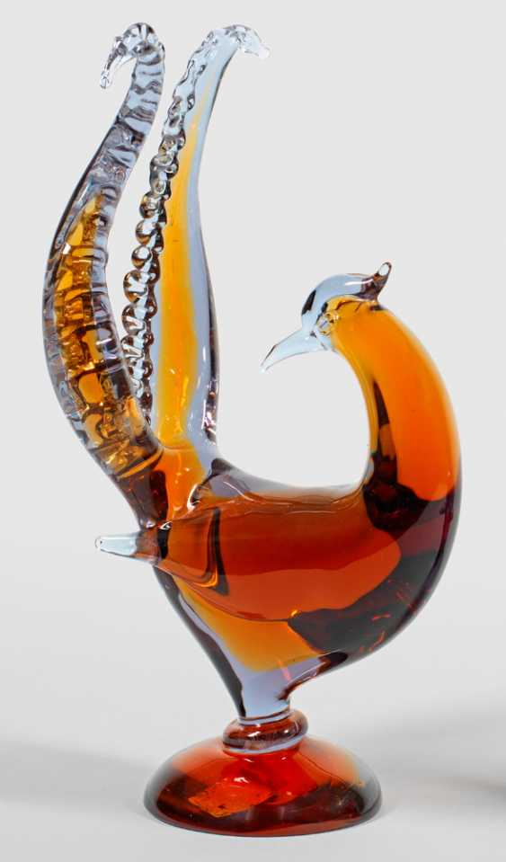 Modern glass sculpture of a bird of Paradise by Flavio Poli - photo 1