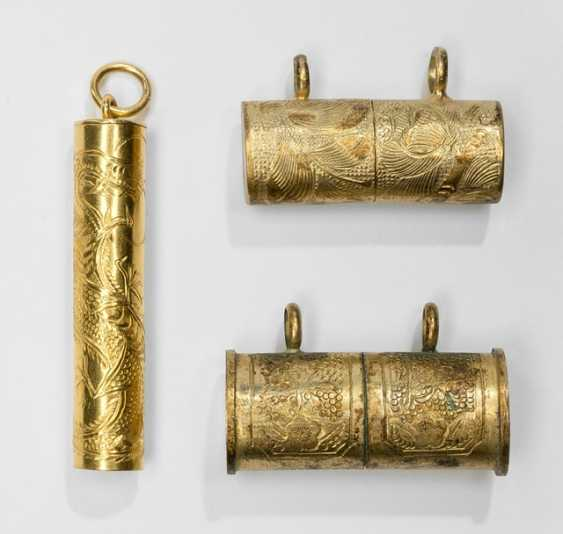 Fine vessel of Gold set with dragon decoration and two gold-plated container, fine hallmarked - photo 1