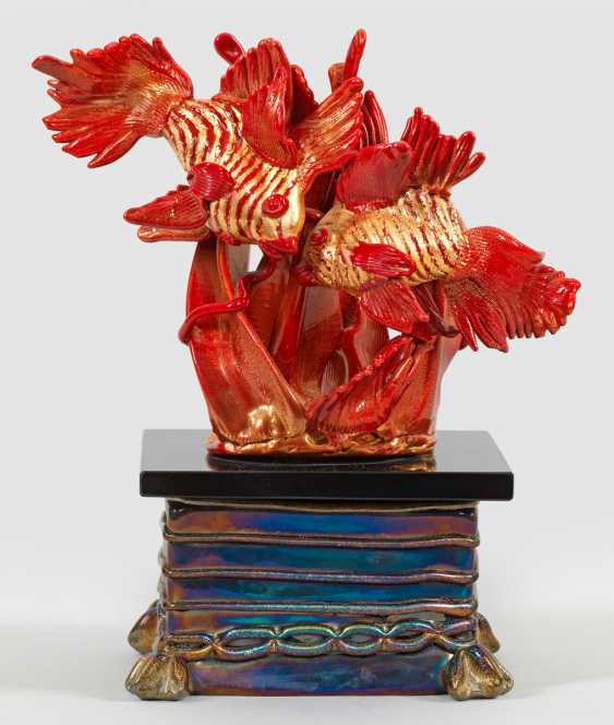 Glass sculpture group of Fish by Ermanno Nason - photo 1