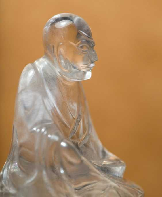 Group of three crystal figures, including Buddha and Guanyin on a wooden base - photo 2