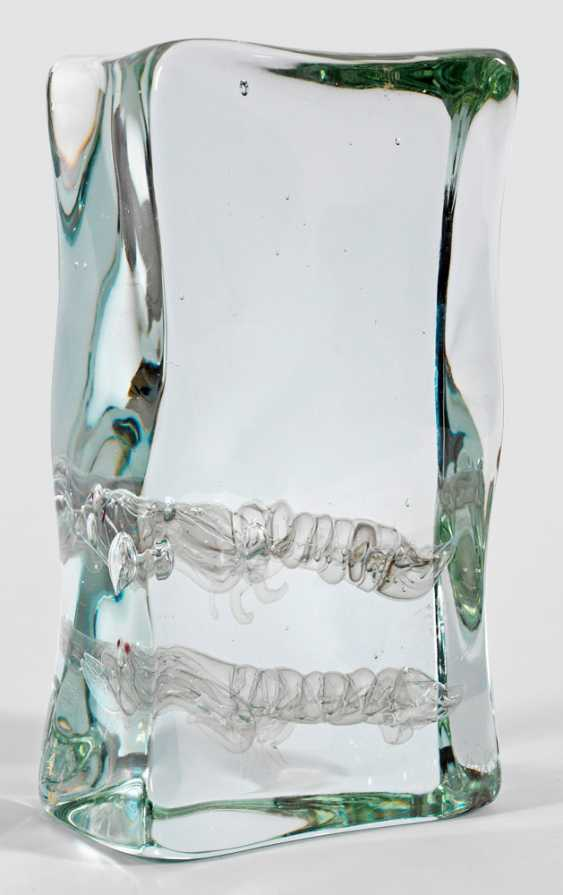 Modern glass sculpture with canocchie decor by Alfredo Barbini - photo 1