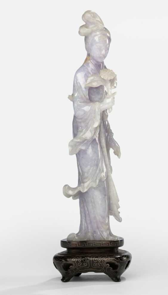 Jadeite carving of a standing lady with a flower branch, hard wooden base with silver - photo 1