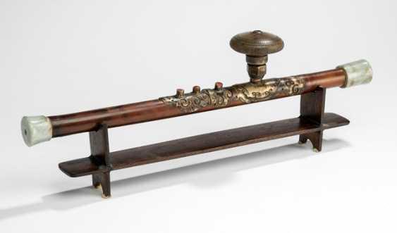 Opium pipe with Jademundstück, stoneware pipe-head and opium scale - photo 1