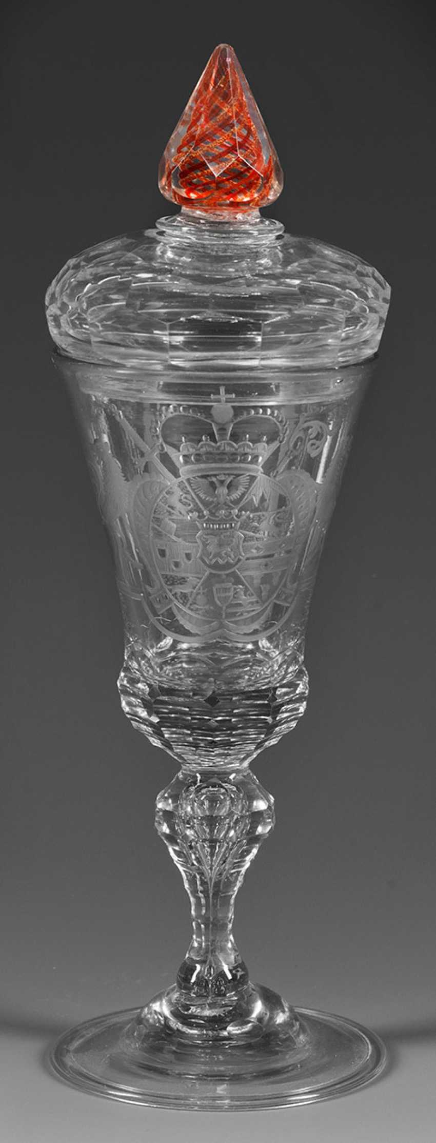 Baroque-lid Cup with coat of arms of Friedrich Karl count - photo 1