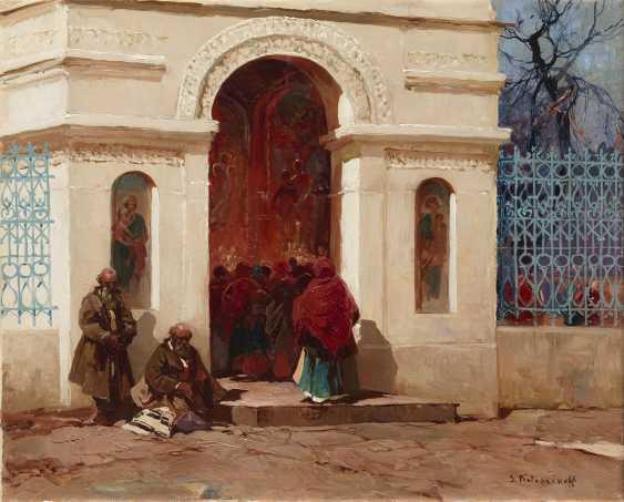 KOLESNIKOV, STEPAN (1879-1955) Outside a Church, signed.