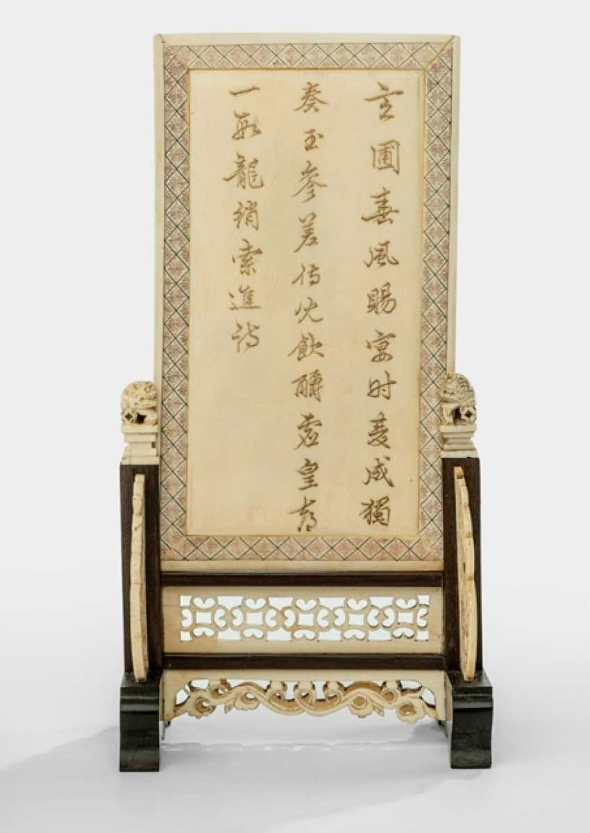 Finely carved table control screen is made of ivory with antique relief - photo 2