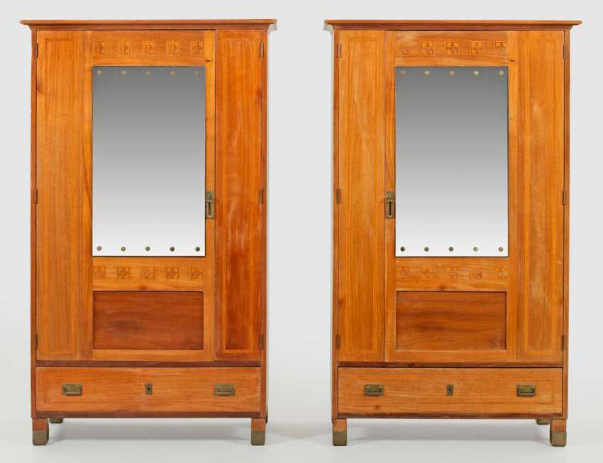Rare Pair of art Nouveau wardrobes of Portois & Fix - photo 1