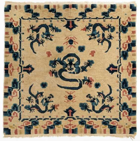 Square Seating rug with dragon decoration in Yellow and Blue - photo 1