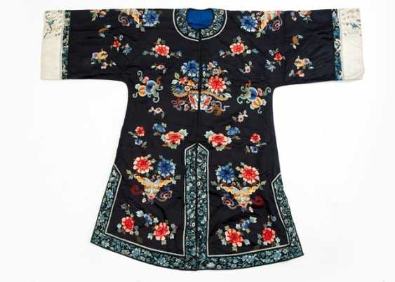 Midnight blue women's robe silk with floral and butterfly decor - photo 1