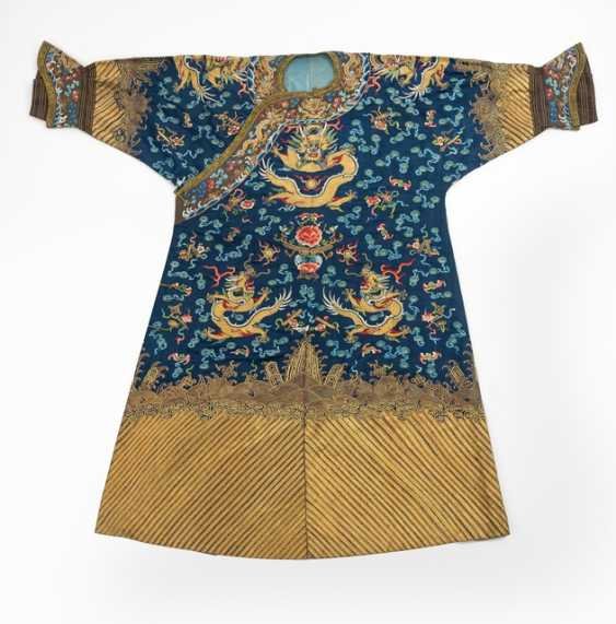 Blue basis silk gown with opulent Golden dragon embroidery - photo 1