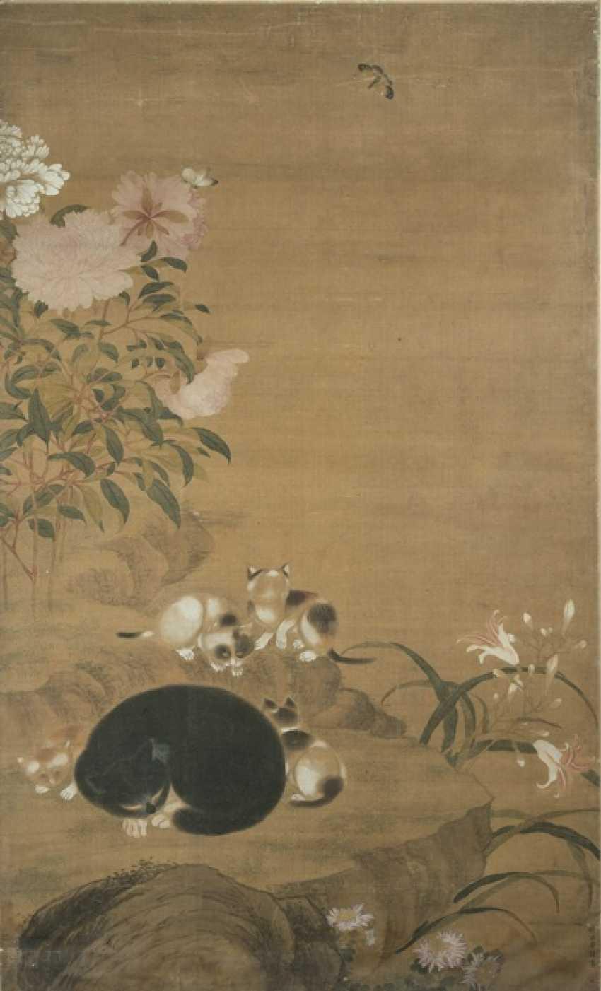 Кошка мать рядом с молодыми лилии и пионы - фото 1