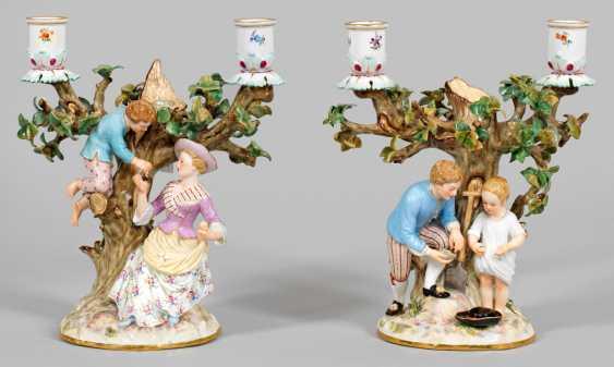 "Pair Of Figure Candlesticks ""Egg Thieves"". Original title - photo 1"