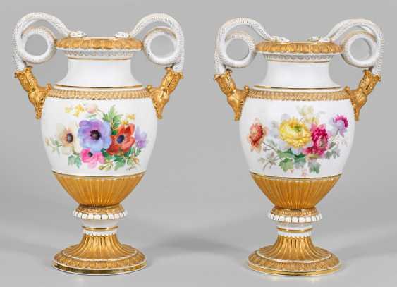 Pair of large snake handle vase - photo 1