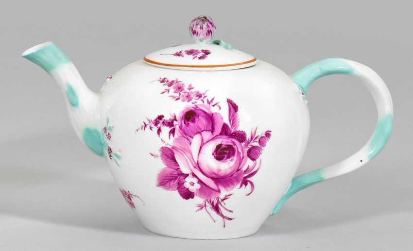 Small teapot with purple camaieu painting - photo 1
