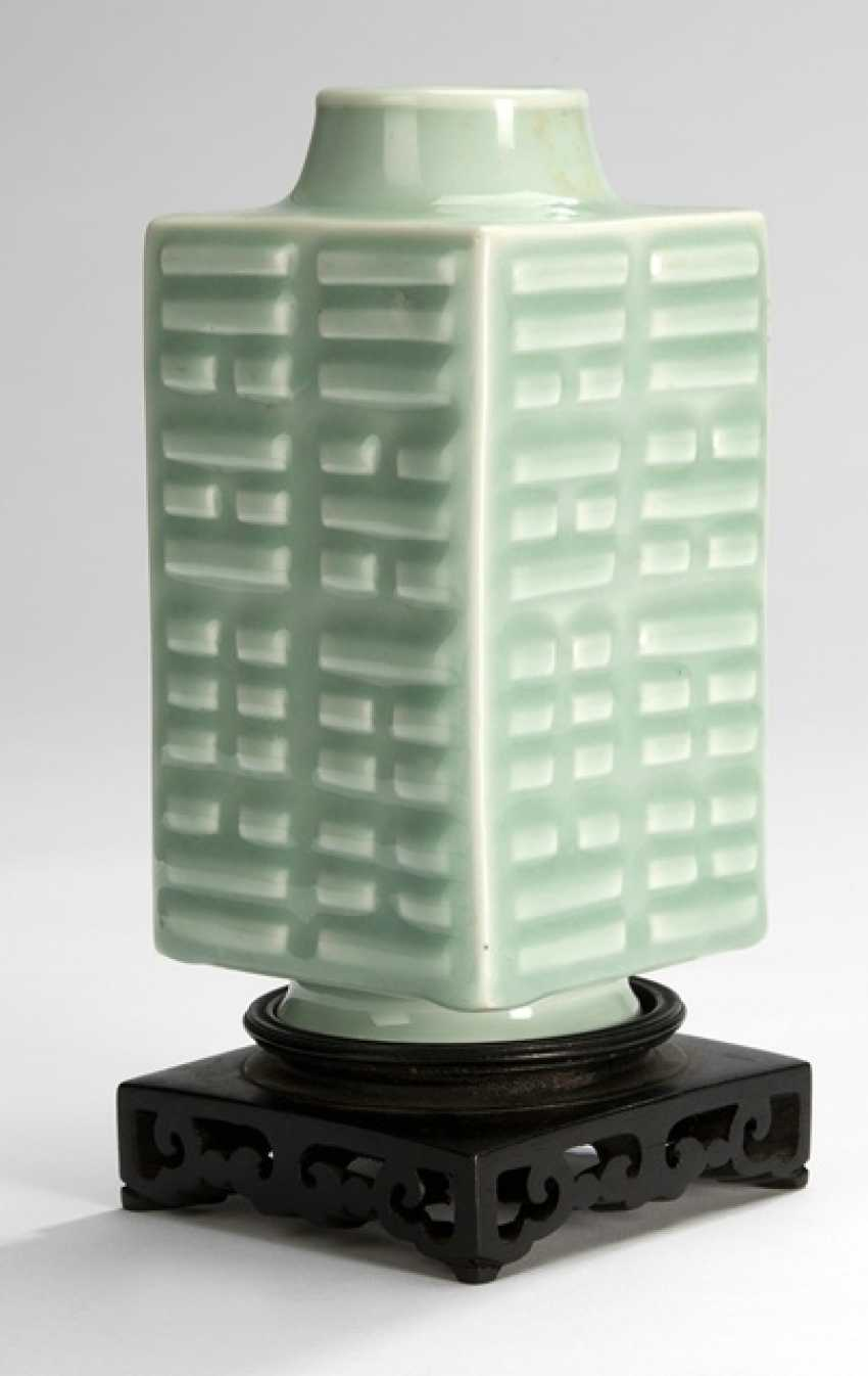 Celadon colors glazed 'cong'Vase with Bagua trigrams - photo 1