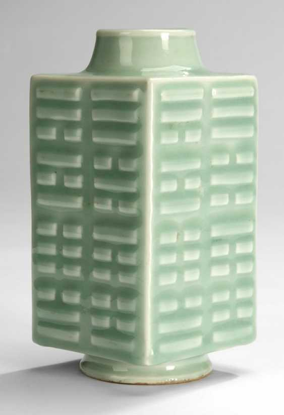 Celadon colors glazed 'cong'Vase with Bagua trigrams - photo 2