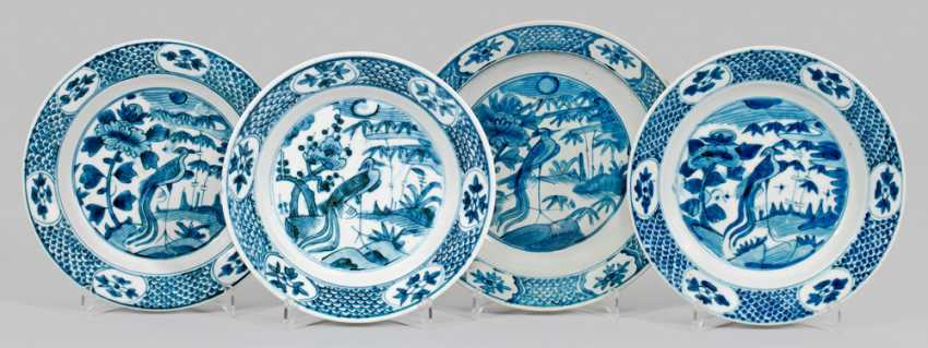 Four blue and white plate with Phoenix decor - photo 1
