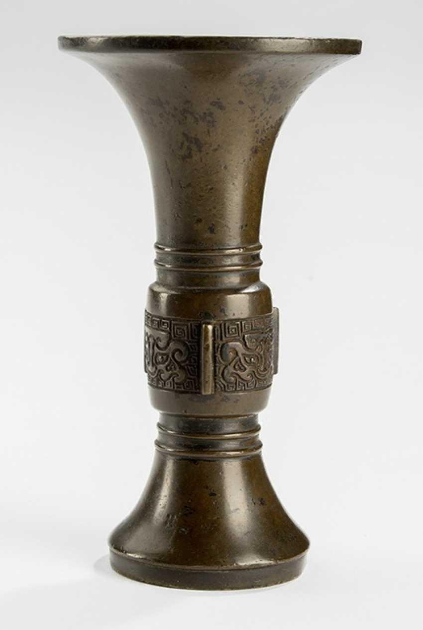 Архаический бронза ваза в форме 'ГУ' с 'Taotie'-Декор - фото 1