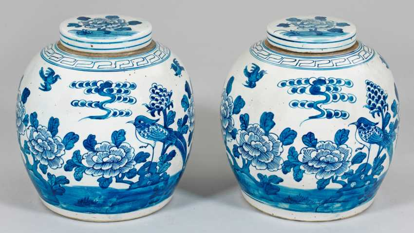 Pair Of Blue And White Ginger Vessels - photo 1