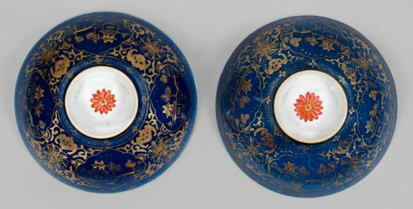 Pair of powder blue bowls with landscape decoration - photo 1
