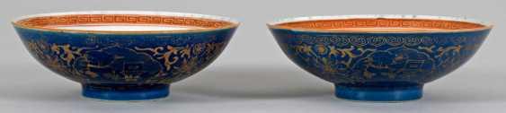 Pair of powder blue bowls with landscape decoration - photo 2