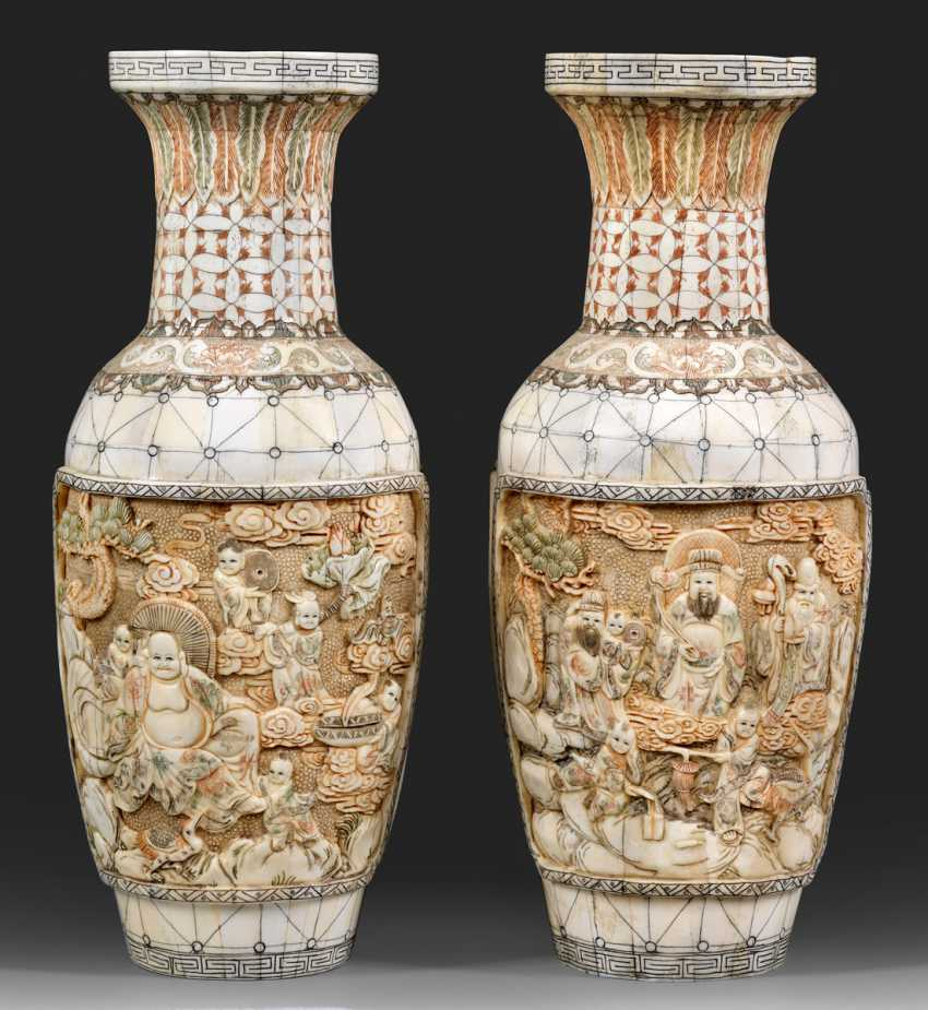 Pair of ivory baluster vases with figural scenes - photo 1