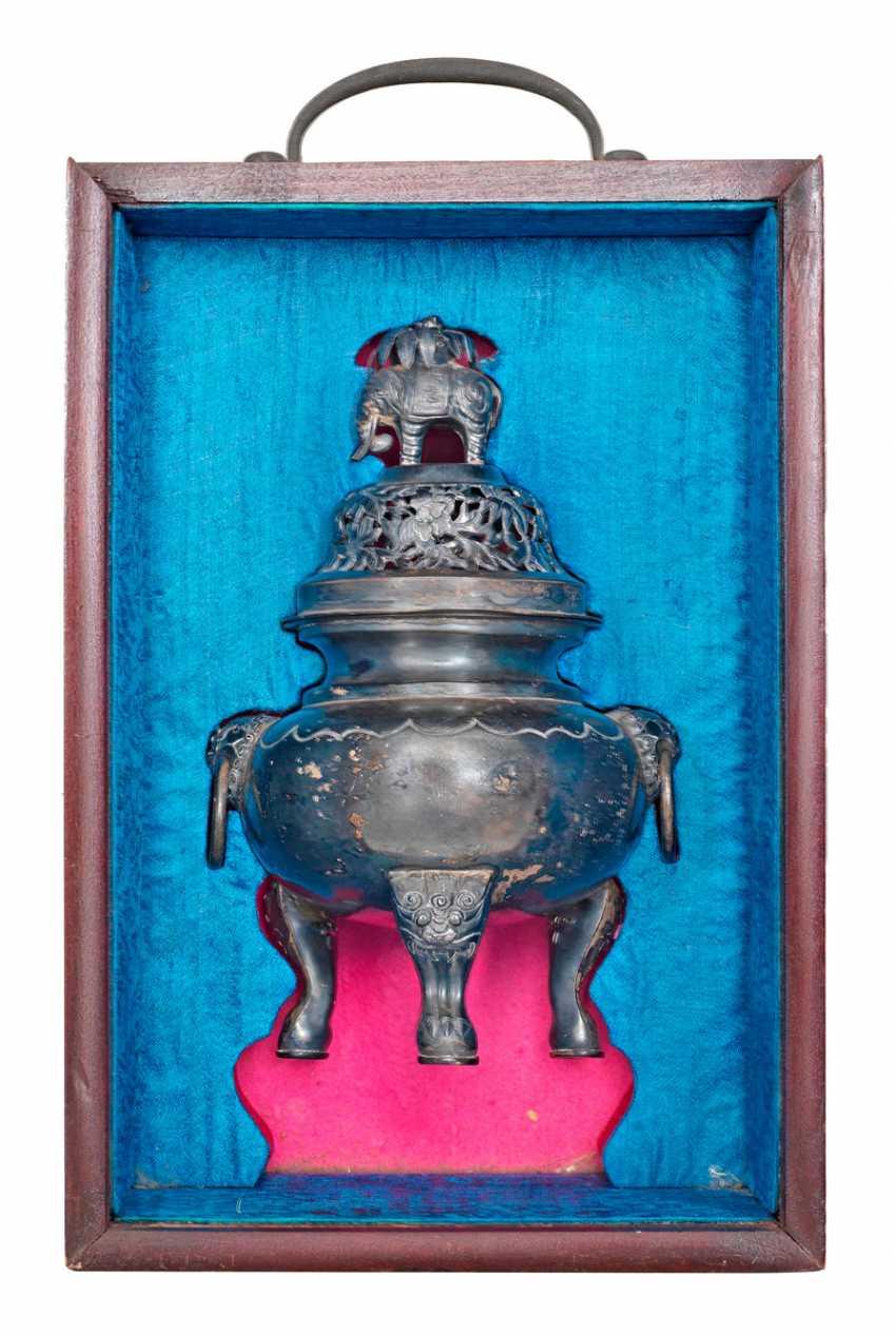 Silver incense burner with dragon decor - photo 1