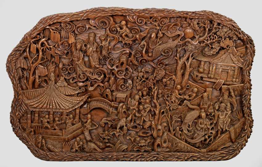 Large Huanghuali carving with a lot of figuriger Scenery - photo 1