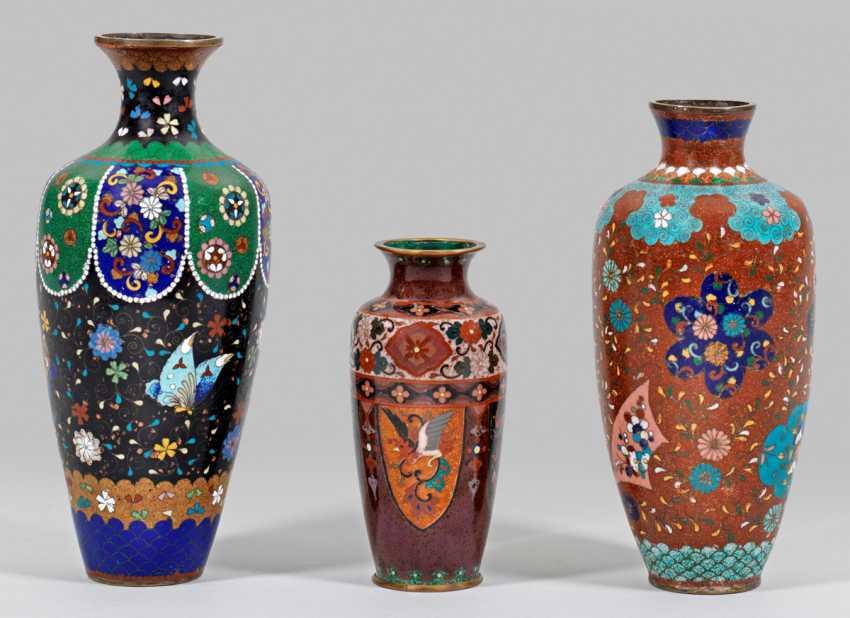 Three Cloisonné Baluster Vases - photo 1