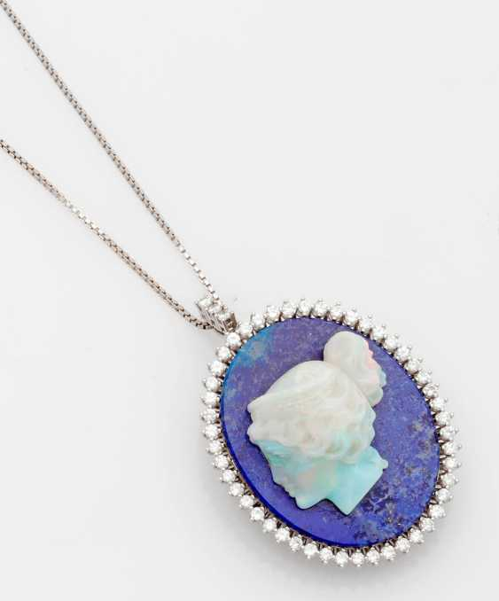 Opal cameo pendant with diamond trimming - photo 1