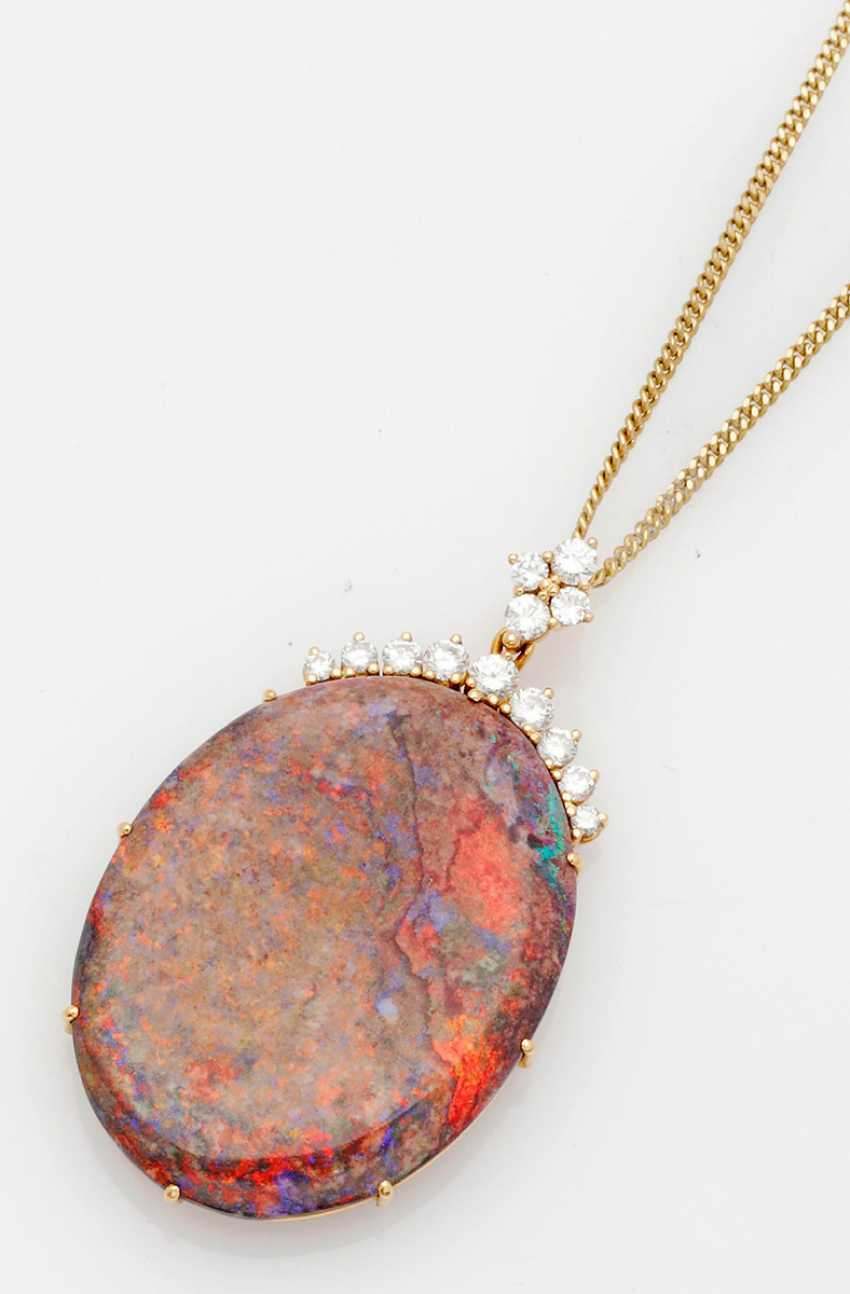 Rare black opal pendant with brilliant trim - photo 1