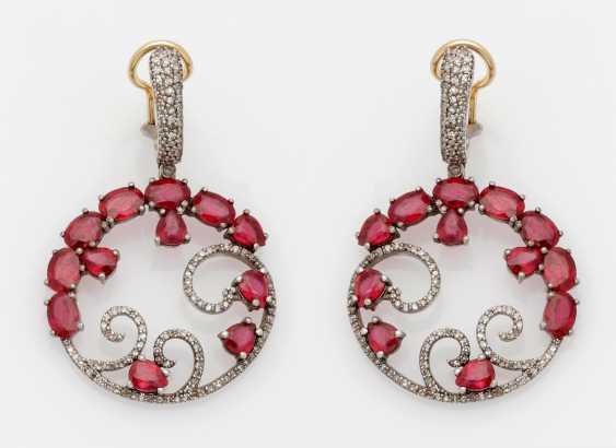 Few Russian ruby drop earrings - photo 1