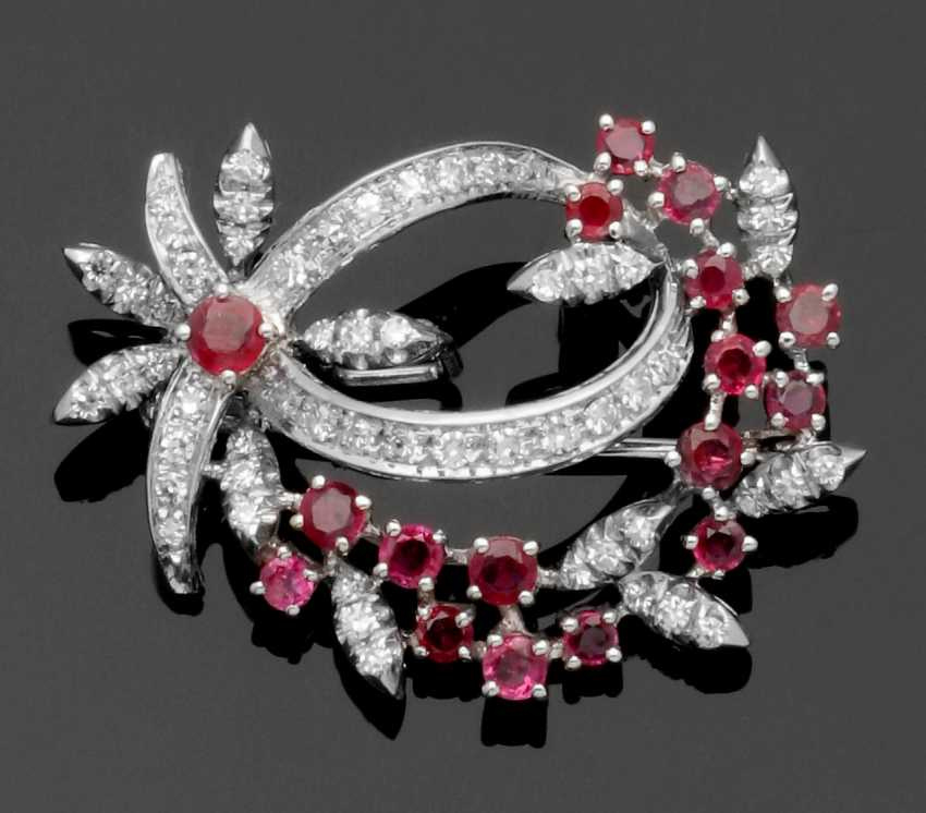 Fine Ruby And Diamond Brooch - photo 1