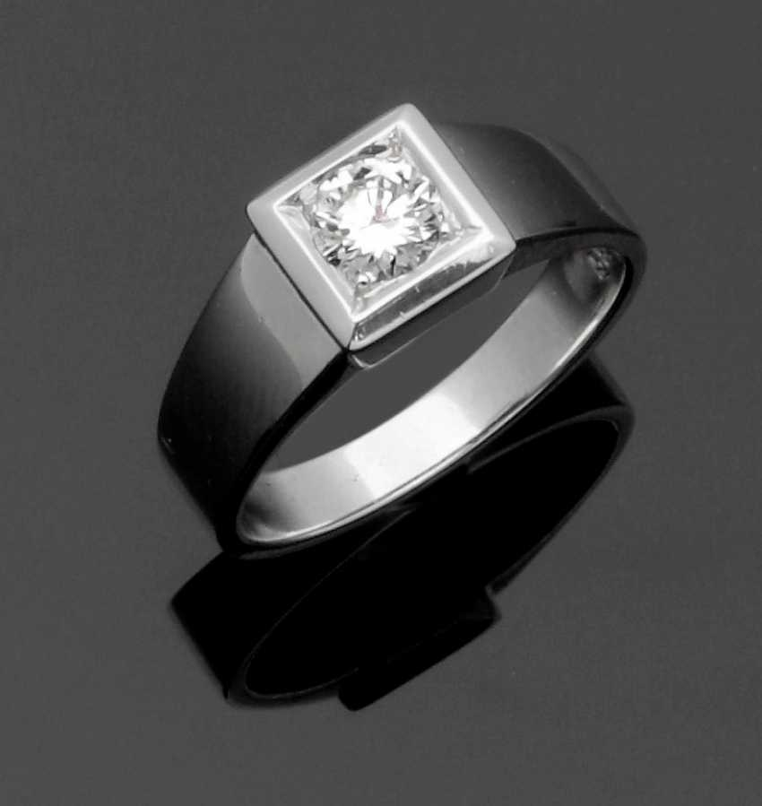 Mr band ring with brilliant solitaire - photo 1