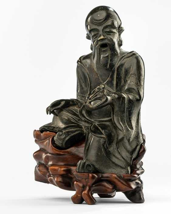 Figure of Shoulao made of Bronze on a wooden stand - photo 1