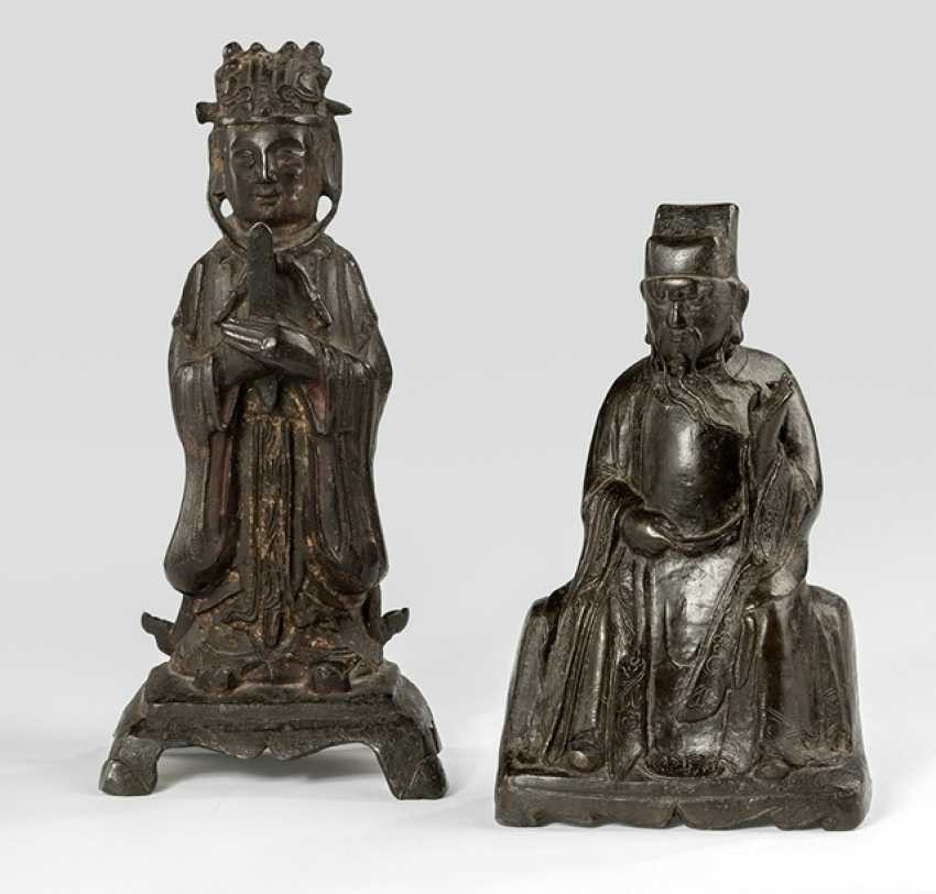 Two Daoist Official, sitting or standing on a Pedestal shown - photo 1