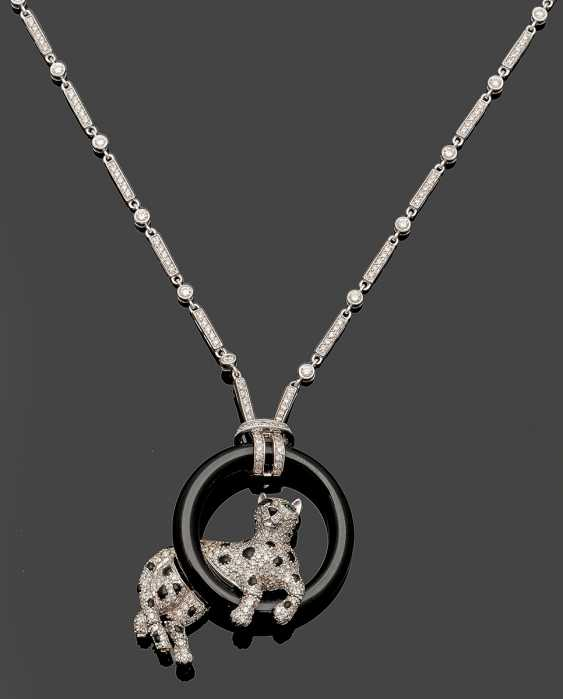 Extravagant diamond necklace with Panther figure - photo 1
